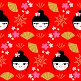 Cute geisha seamless pattern