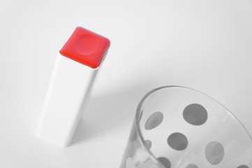Red box and grey glass
