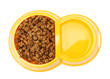 dry cat food and water in yellow bowl isolated on white