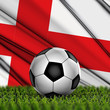 Soccer ball on grass on National Flag. Country England