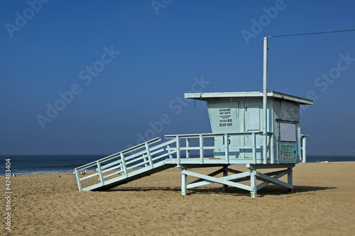 Lifeguard observation tower station at Santa Monica beach