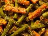 close up of indian carrot and bean pickle food background
