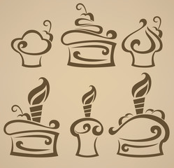 vector collection of stylized cakes images