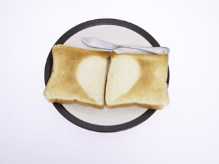 Half Heart Toast on White Background