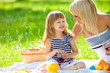 Happy mother and little daughter at a picnic