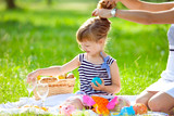 Little cute girl playing at a picnic