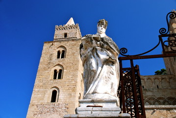 Statue in fornt of the cathedral in Cefalu, Sicily