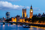 Fototapety Big Ben and Westminster Bridge in the Evening, London, United Ki