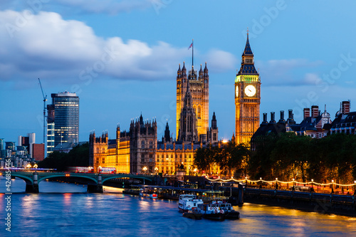 Foto op Canvas Praag Big Ben and Westminster Bridge in the Evening, London, United Ki