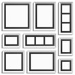 White frames with black paper inside. Vvector decor element.