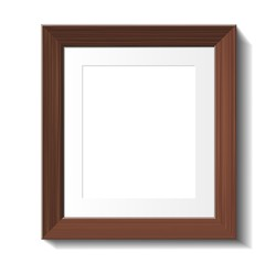 Empty frame of wenge wood isolated on white. Vector