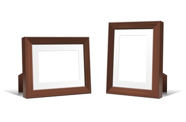 Realistic 3D empty frames of wenge wood. Vector design element.