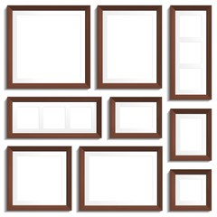Vector empty frames of wenge wood in various standard formats.