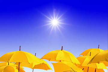yellow umbrellas on celestial background