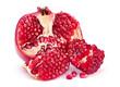 Pomegranate fruit closeup on white background