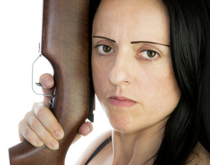 woman with riffle