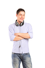 Portrait of a smiling male with headphones posing