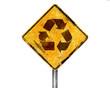 Señal amarilla reciclaje