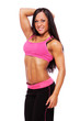 Portrait of muscle woman posing on white background