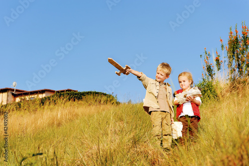 children playing explorer
