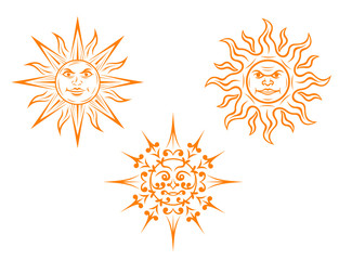 Vintage sun mascots