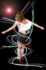 Sexy girl dancing in miniskirt