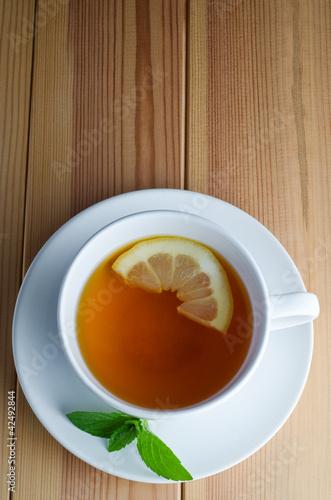 Lemon Tea with Mint Leaves
