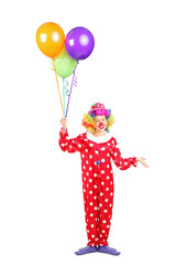 Full length portrait of a female clown, happy joyful expression
