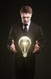 man inventing idea poster