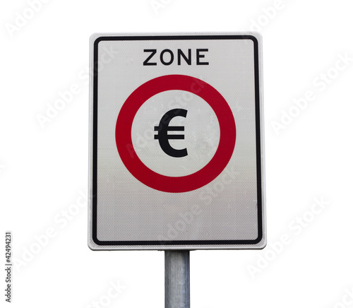 Euro zone road sign