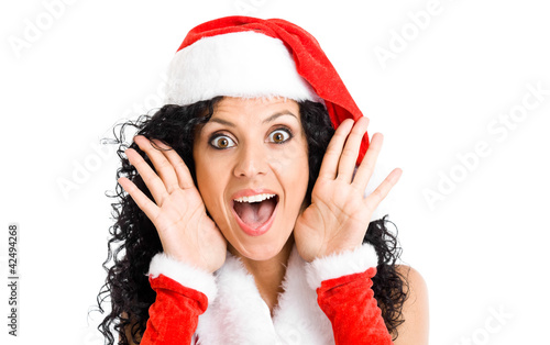 Surprised Christmas girl