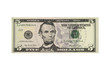 American five dollar banknote isolated over white