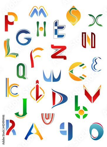 Alphabet symbols from A to Z