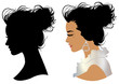 Beautiful girl head silhouette