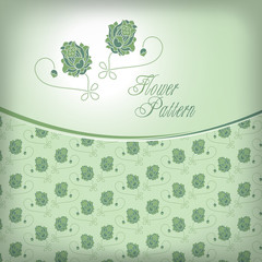 Vector illustration:  green tone cover, seamless color lotus pat
