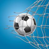 Soccer Goal. A soccer ball in a net. Vector illustration poster