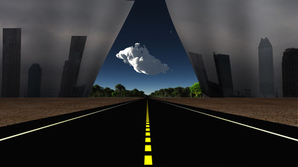Road and Dystopic city reveal peaceful landscape be