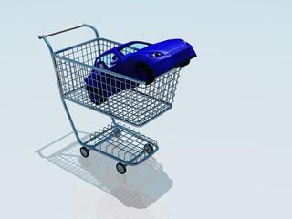 Car in a shopping cart