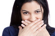 Happy Young Woman Covering Mouth
