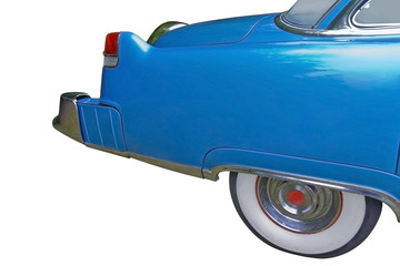 Rear of a big blue luxury vintage car isolated