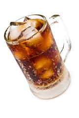 cup of cola and ice with clipping path