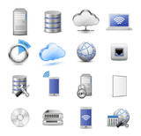 Servers, databases, network devices and cloud computing concept