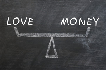 Balance of love and money drawn with chalk on a blackboard