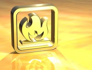 3D Fire Gold Sign