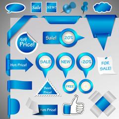 web shop symbol set, blue, hugh collection