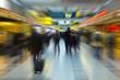 People travel.Radial blur.