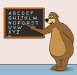 Bear teacher cartoon character with blackboard & alphabet