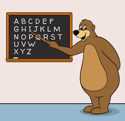 Bear teacher cartoon character with blackboard & alphabet