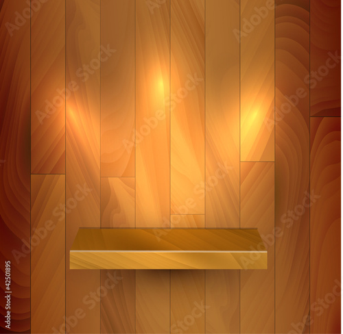 Vector wooden empty realistic bookshelf