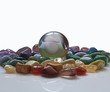 Crystal ball and healing gem stones